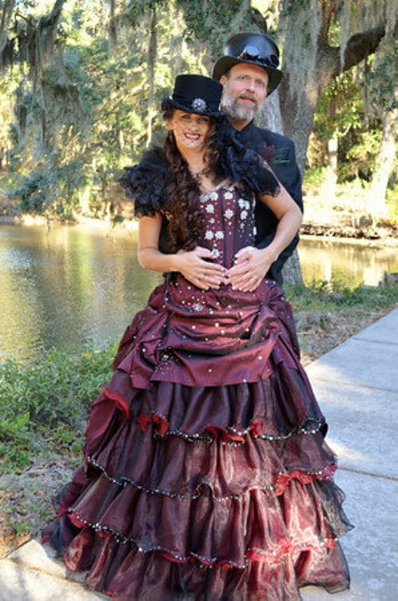 steampunk wedding dress bridal gown available in other colors. Black Bedroom Furniture Sets. Home Design Ideas