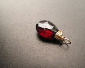Unique faceted deep red GARNET natural gemstone Interchangeable pendant, dangle, charm Diy Gold, Sterling Silver, Rose Gold, Oxidized