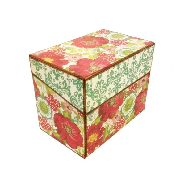 RECIPE BOX Sale Recipe Box for 4x6 cards AND Dividers - Handmade Colorful Red Flower Wooden Decoupage Recipe Organizer Box