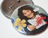 Vintage Collage Art Button- Free Spirit - Pressed with Real Wildflowers