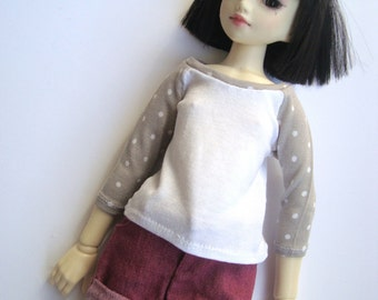 """T-shirt - """"Taupe"""" with Dots - Unoa / MNF"""