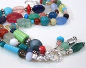 Multi Colored Gemstone & Sterling Silver Triple Strand Bracelet