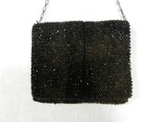 Small Black Beaded Fold Over Purse, Chain Handle