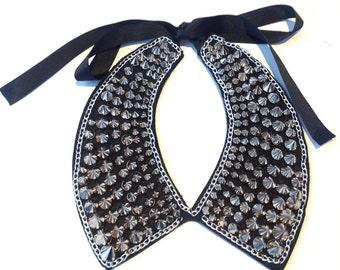 Naeomi, Black Silver Spike Studded Collar Necklace