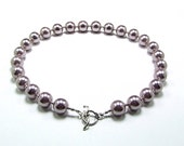 Lavender Shell Pearl & Sterling Silver Necklace - N625