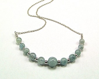 Aquamarine on Sterling Silver Necklace - N539
