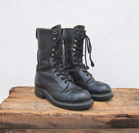 vintage steel toe combat black leather lacer boots by