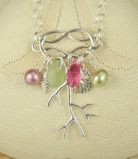 Beach Bliss GENUINE Sea Glass Necklace Coral Starfish And Shells