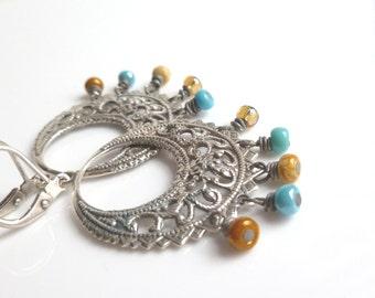 Boho Chandelier Earring - southwestern cowgirl ornate antique silver w/ aqua turquoise blue - cream - amber brown bead dangle fringe gypsy