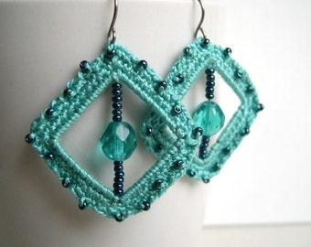 Mint Blue crochet earrings - Mint Bridesmaid earrings - Mint lace earrings - Bridal earrings - Mint fashion earrings - Girlfriend gift idea