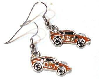 Orange Number 11 Race Car Enamel Charm Earrings - Race Fan Earrings