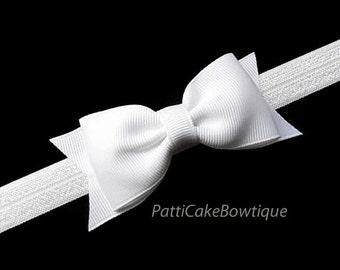 White Bow Headband, Baby Headband, White Hair Bow Clip, White Bow, White Headband, Toddler Headband, Baby Hair Bow, Baby Hair Barrettes, 78