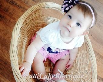 Daddy's Little Sailor Korker Hair Bow on Pink Headband, Pink & Blue Nautical Koker Bow, Baby Korker Bow, Hair Clip, Toddler Hair Bow, 809