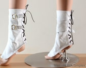 Victorian Steampunk Spats Leather White Shoe Boot Covers Fetish Gothic CHRISST