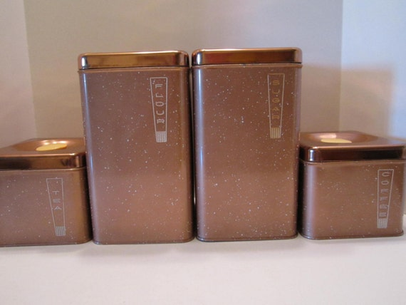 Copper canister set flour sugar tea coffee mid century modern - Modern tea and coffee canisters ...