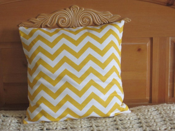 Pillow Cover Sunny Yellow Chevron Zig Zag Print - 18 Inch Square
