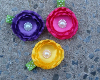 3 Flower Hair Clips Silk Flower Hair Clips You Pick any THREE