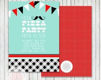 Pizza Party Printable Birthday Party Invitation - Petite Party Studio