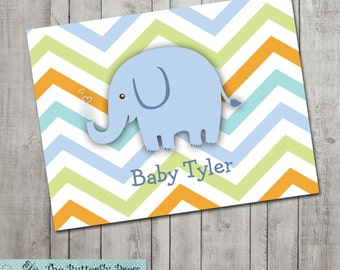 Blue Baby Elephant Note Cards  --  personalized folded notecards  --  personalized stationery  -  baby elephant notes