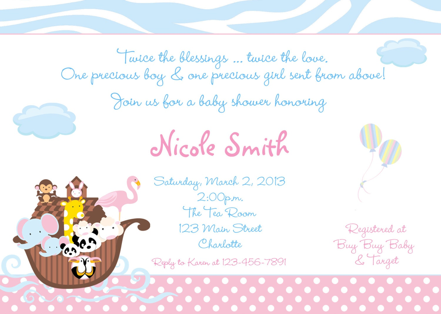 noah 39 s ark baby shower invitation twins by thebutterflypress