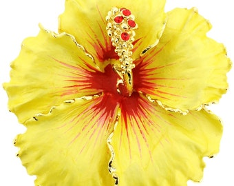 Yellow and Red Hawaiian Hibiscus Flower Brooch/Pendant 1000992