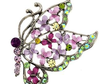Light Amethyst Butterfly Pin Swarovski Crystal Brooch Pin 1010253