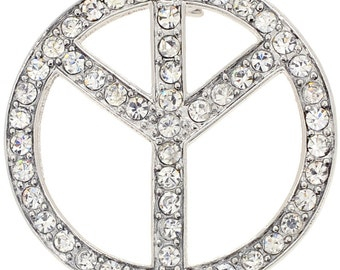 Silver Peace Sign Pin Brooch 1002972