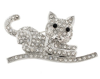 Silver Cat Kitty Pin Animal Pin Brooch 1003411