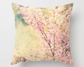 pillow cover, nursery decor, cherry blossom tree pillow case, girls room throw pillow, spring home, pink mint green 20x20