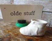 Vintage Ceramic Baby Shoe Figurine Planter Beige