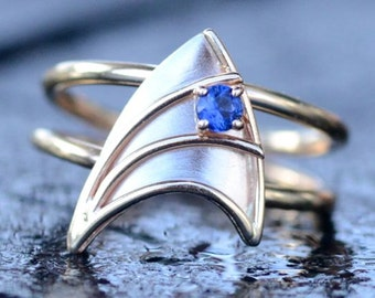 14K Yellow and White Gold Engagement Ring with Blue Sapphire Star Trek Insignia Inspired  Made To Order