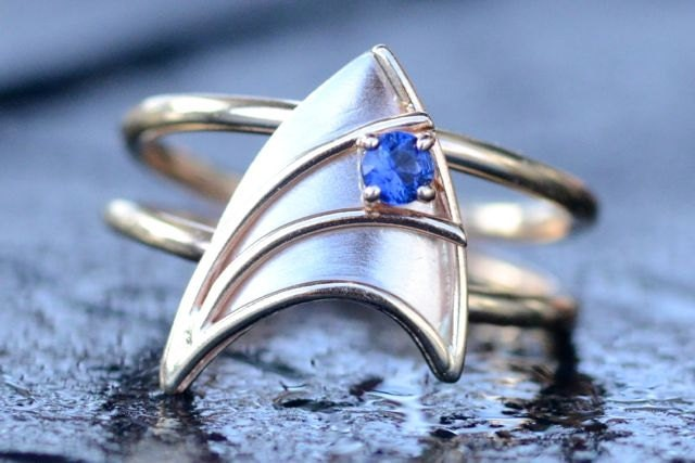 engagement ring with blue sapphire star trek insignia inspired made to zoom - Star Trek Wedding Ring