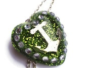 Rockabilly anchor necklace sparkly lime green and rhinestone