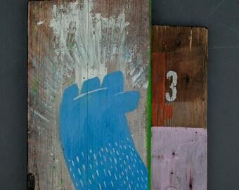La Mano Azul y La Gente - painted on wood