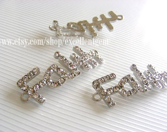 Faith-5pcs Silver plated with clear crystal rhinestone,Curved,sideway word connector