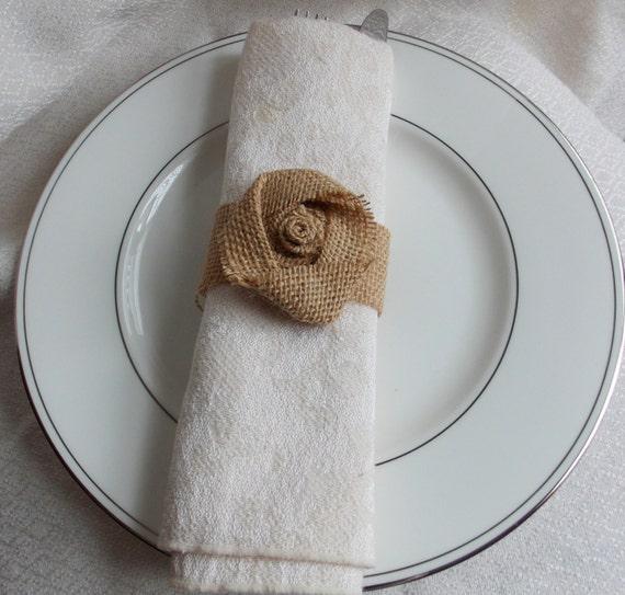 Burlap Napkin Rings Burlap Flower Rustic Shabby Chic Wedding Decor