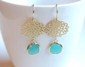 Aqua chalcedony GLASS gold chrysanthemum mum flower dangle earrings.  Bridal earrings.  Bridesmaids earrings. Wedding jewelry.