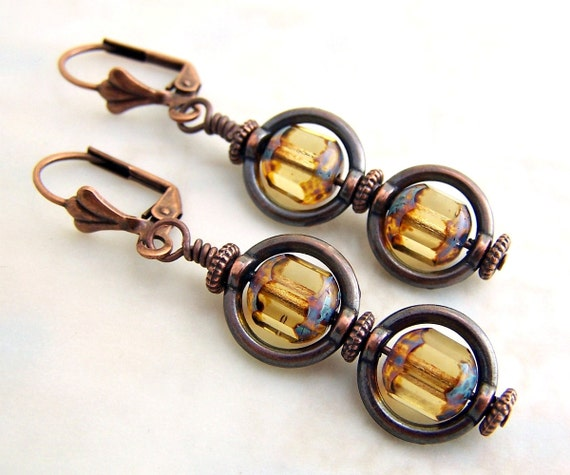 Copper and Amber Earrings with Circle Saturn Rings and Picasso Czech glass beads - Modern Victorian Steampunk Earrings