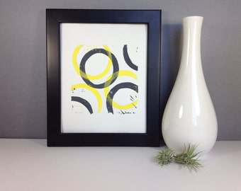 Yellow and Gray Modern Geometric Abstract Art linocut print 8x10