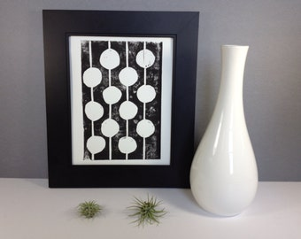 Polka Dot Black and White Print linocut art print 8x10 Polkadot