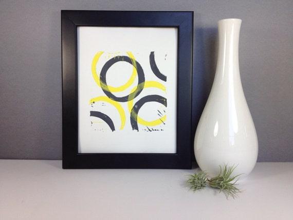 Yellow and Gray Modern Geometric Abstract Art linocut print 8x10