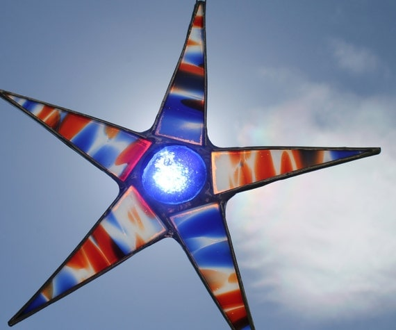Freedom Star- 8 inch red white blue and clear stained glass star