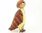 Woman Bird Folk Art Doll Romantic plush Naive Rag doll brown orange yellow Artist fabric doll - cocodollz