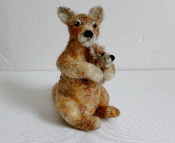 Kangaroo with joey needle felted animal fiber art sculpture