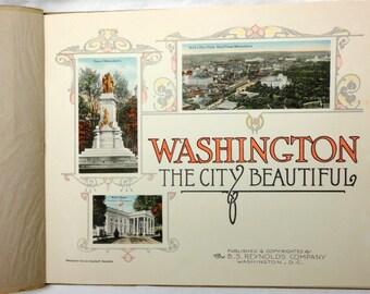 antique souvenir booklet Washington DC capitol monuments lithograph complete perfect