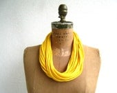 T Shirt Necklace / Yellow / Upcycled / Recycled / Long Short / Women / Cotton / Soft / Fashion / Fun / Gift for Her Mom / ohzie - ohzie