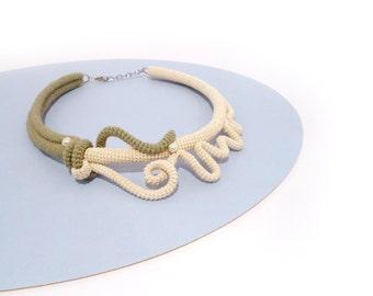 Crochet Morphic Necklace, Yin-Yang Fantasy Style Choker Army Green Ivory