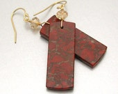SALE 40% OFF - 14kt GF Red Jasper Earrings