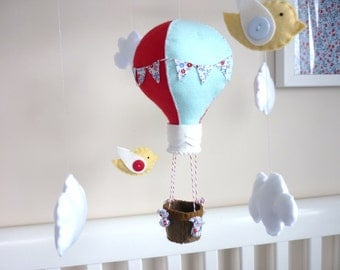 Baby Mobile - Hot Air Balloon Baby Mobile - Blue and Red Nursery - Sky Mobile - Whimsical Nursery