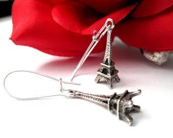 Eiffel Tower Dangle Earrings, Antique Silver Paris Eiffel tower Earrings